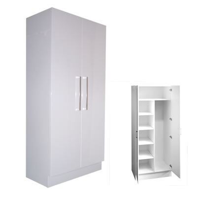 Combination Linen Broom Cupboard Double Door 80cm