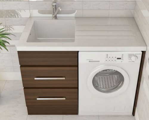Bloom Laundry Cabinet & Sink - Dark Oak