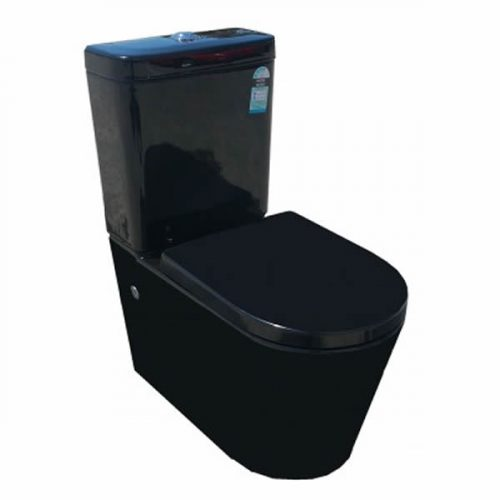 Black cube curved toilet suite