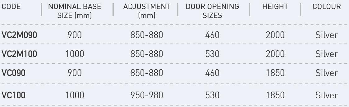 Corner Entry shower screen sizes