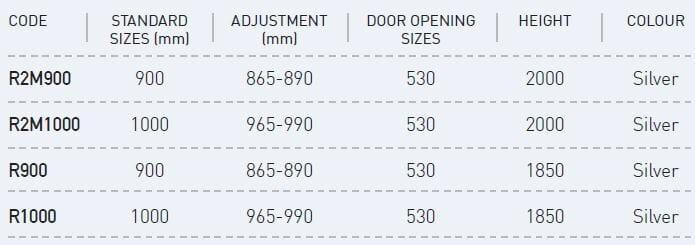 quadrant shower screen sizes