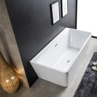 Rio Black & White Back to the Wall Freestanding Bath - In Bathroom