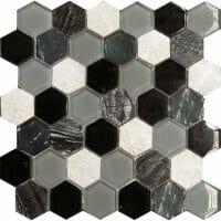Art Deco Black Hexagon Mosaic