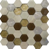 Art Deco, Brown, Hexagon, Mosaic, Feature, Wall, Perth, Discount, Tiles