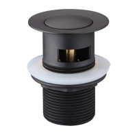 Black Pop Up Waste Drain Matte With Overflow Trending Tapware