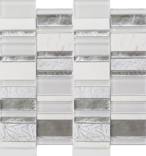 white stack tile art deco mosaic feature wall